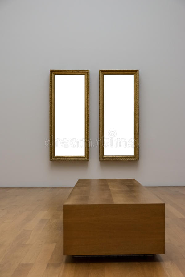 Contemporain blanc blanc vide MOIS d'Art Gallery Frame Picture Wall photo stock