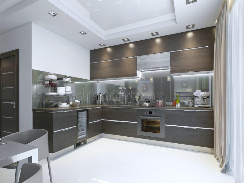 Contemporain De Cuisine Dans Le Brun Avec Les Planchers De Mur Et De ...