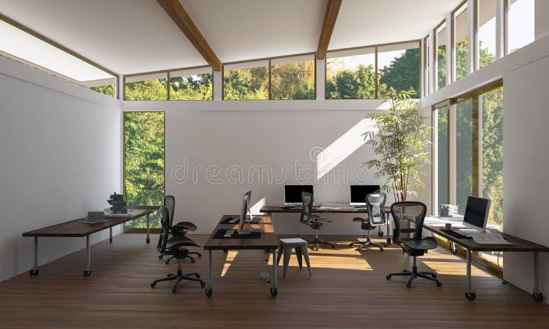 Contemporain, espace de travail vide lumineux de bureau d'eco illustration stock