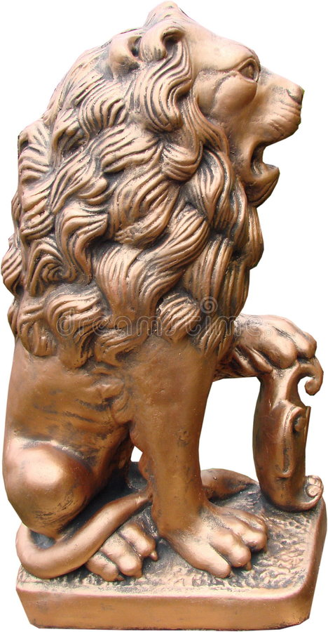 contemporal скульптура парка льва золота 2 стоковое фото rf
