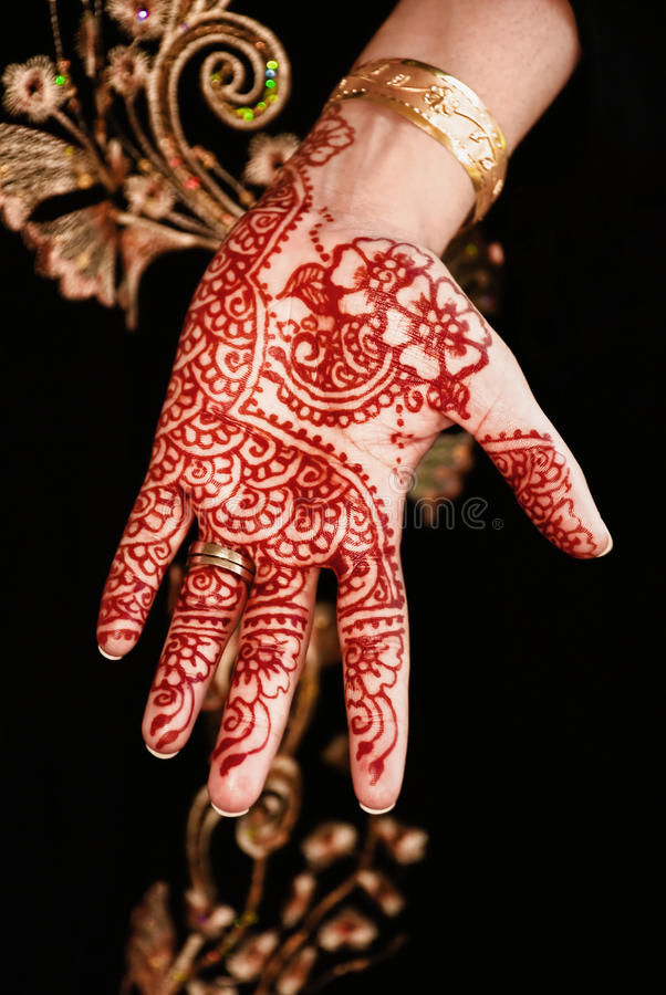 Contemporaneo indiano di progettazione floreale del bello tatuaggio unico del hennè fotografia stock libera da diritti