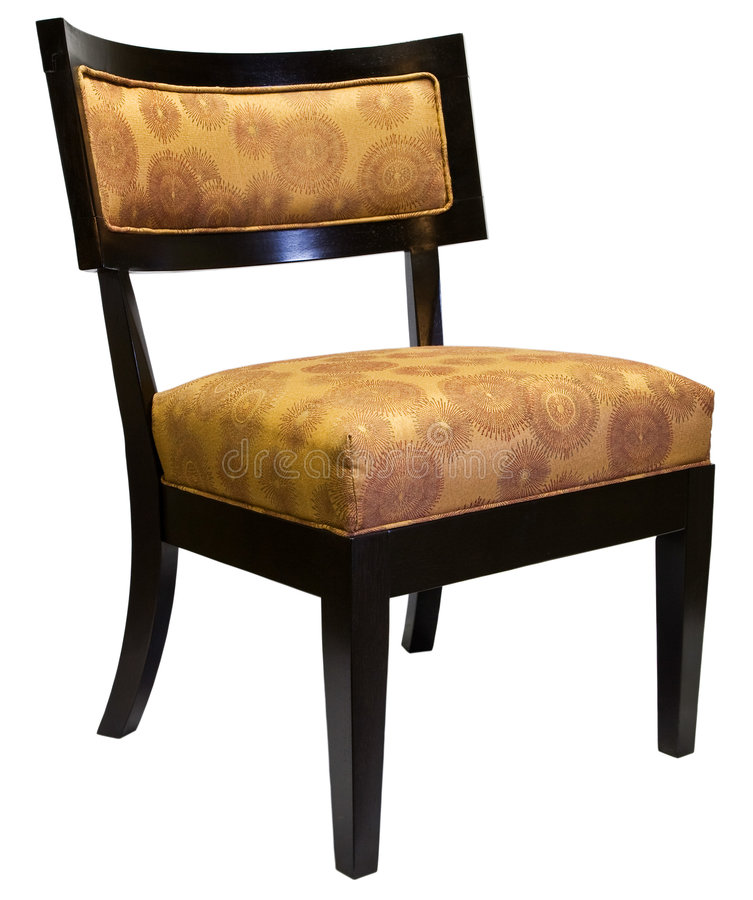 Contemporary Accent Living Room Chair. Contemporary Cherry Wood Accent Living Room Chair with Gold Fabric royalty free stock images