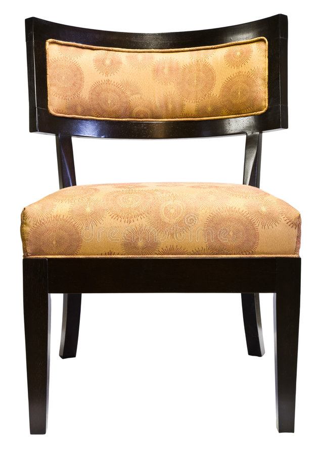 Contemporary Accent Living Room Chair. Contemporary Cherry Wood Accent Living Room Chair with Gold Fabric stock image