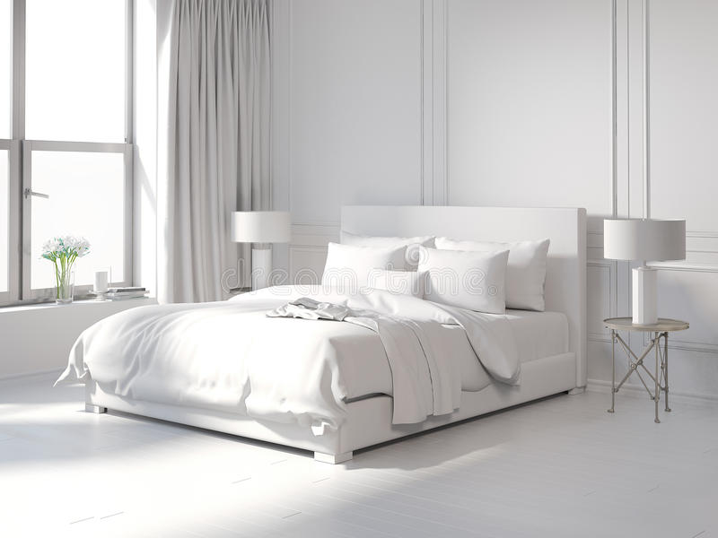 Contemporary all white bedroom. Rendering of a Contemporary all white bedroom vector illustration