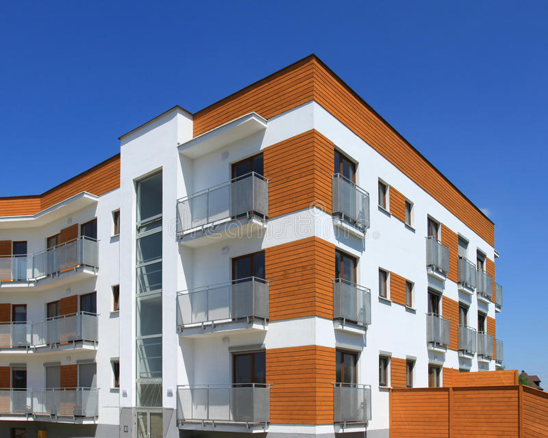 Contemporary apartment building. Average contemporary apartment building in Poland. Generic residential architecture stock photography