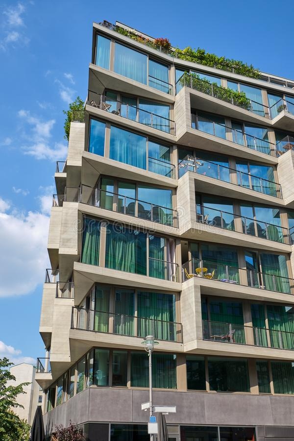 Contemporary apartment building with floor-to-ceiling windows. Seen in Berlin, Germany stock image