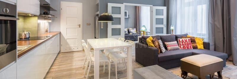 Contemporary apartment interior, panorama stock photos