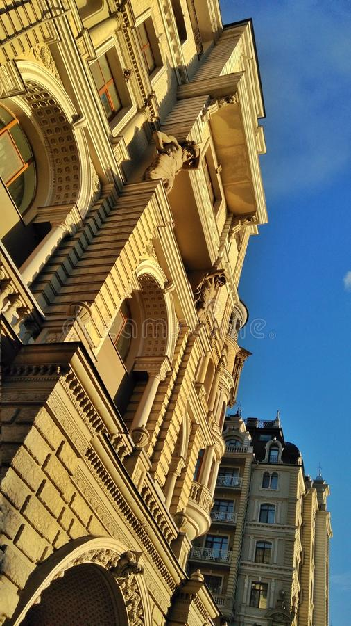 Contemporary architecture in Kazan city. Dramatic view from the down to the top. stock photos