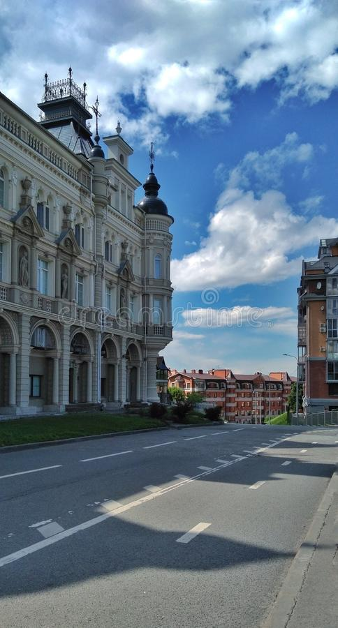Contemporary architecture in Kazan city. Empty road. stock photography