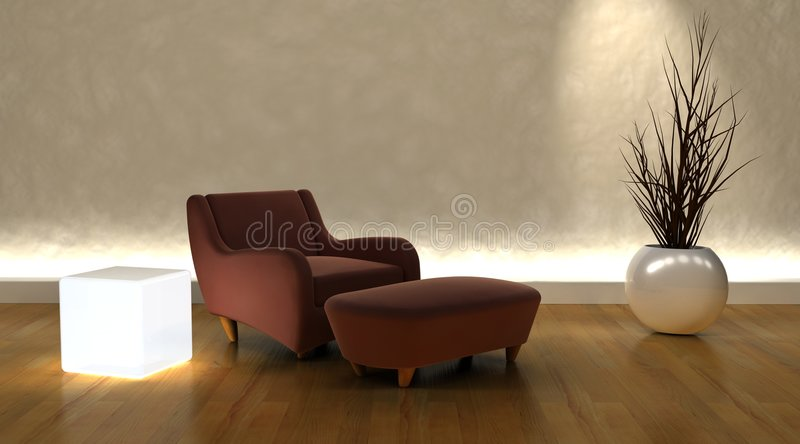 Contemporary arm chair. 3d render of contemporary arm chair and ottoman in modern setting royalty free illustration