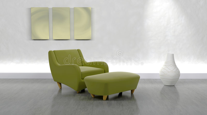Contemporary arm chair. 3d render of contemporary arm chair and ottoman in modern setting stock illustration