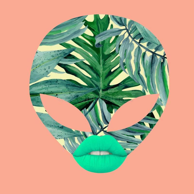 Alien face witn leaves and lips royalty free stock photography