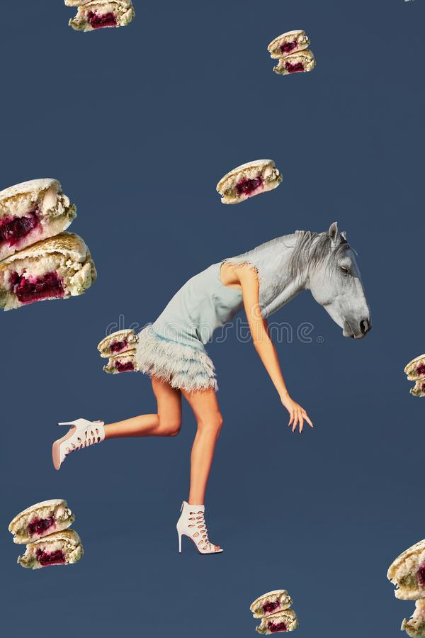 Contemporary art collage. Concept woman with horse head. Modern style pop art zine culture concept stock photos