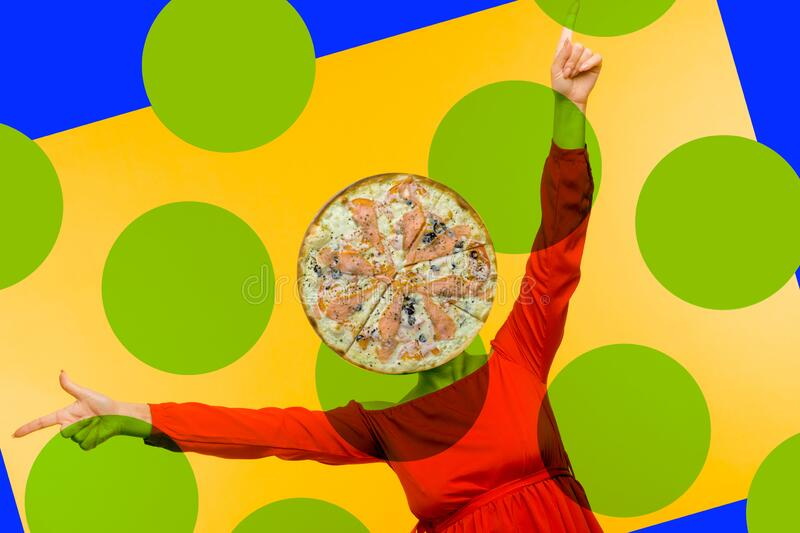 Contemporary art collage. Minimal pizza lover concept. Pizza and girl in red dress stock photo