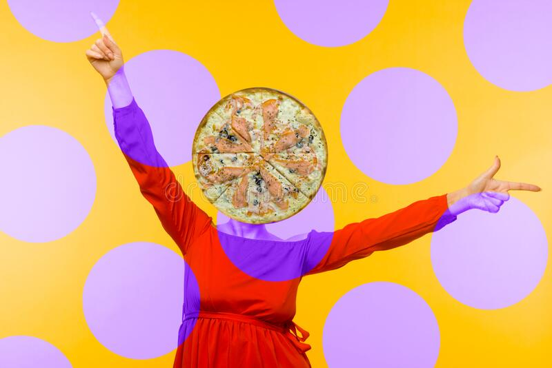 Contemporary art collage. Minimal pizza lover concept. Pizza and girl in red dress. Head, abstract, woman, surprise, creative, isolated, happy, model, fun stock image