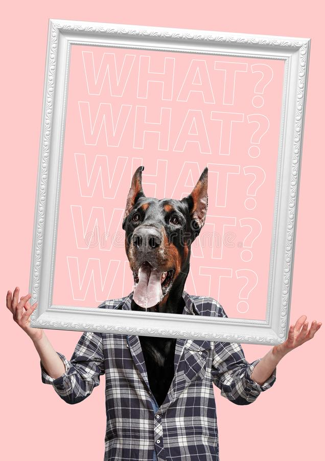 Contemporary art collage or portrait of surprised dog headed man. Modern style pop art zine culture concept. stock photo