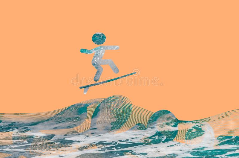 Surfer silhouette on wednes stock images