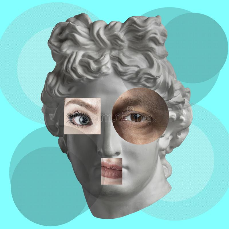 Contemporary art concept collage with antique statue head in a surreal style. Modern unusual art. royalty free stock photography