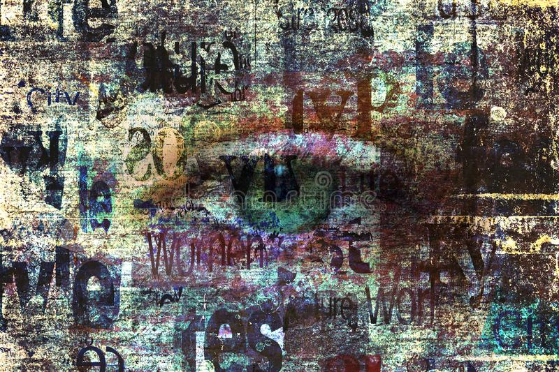 Contemporary art fashion grunge background. Beautiful green female eye. On newspaper texture. Artwork modern collage. Newspapers art print vector illustration