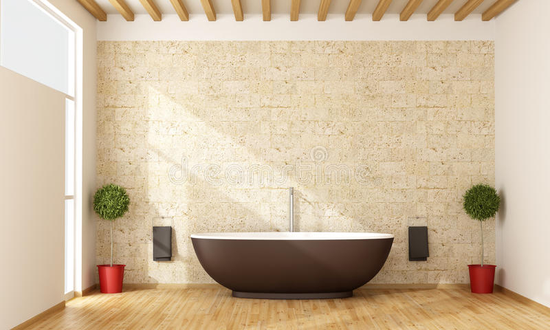 Contemporary bathroom. With brown bathtub - 3D Rendering royalty free illustration