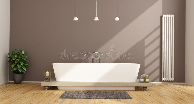 Contemporary bathroom. With elegant bathtub and vertical heater on brown wall - 3D Rendering royalty free illustration