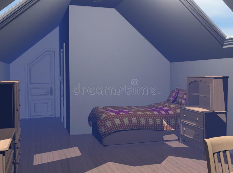 Contemporary Bedroom 3D render stock illustration