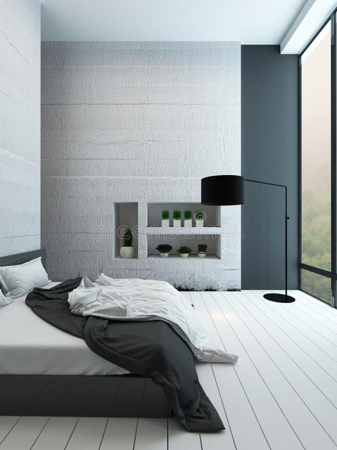Contemporary bedroom with alcove. Picture of contemporary white bedroom with alcove stock image