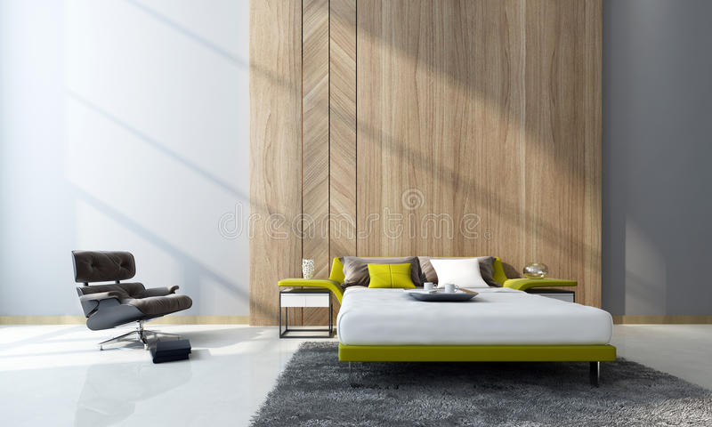 Contemporary bedroom interior. With a double divan bed and cabinets in front of feature wood paneling and a comfortable armchair in a double-volume room. 3d royalty free stock photos