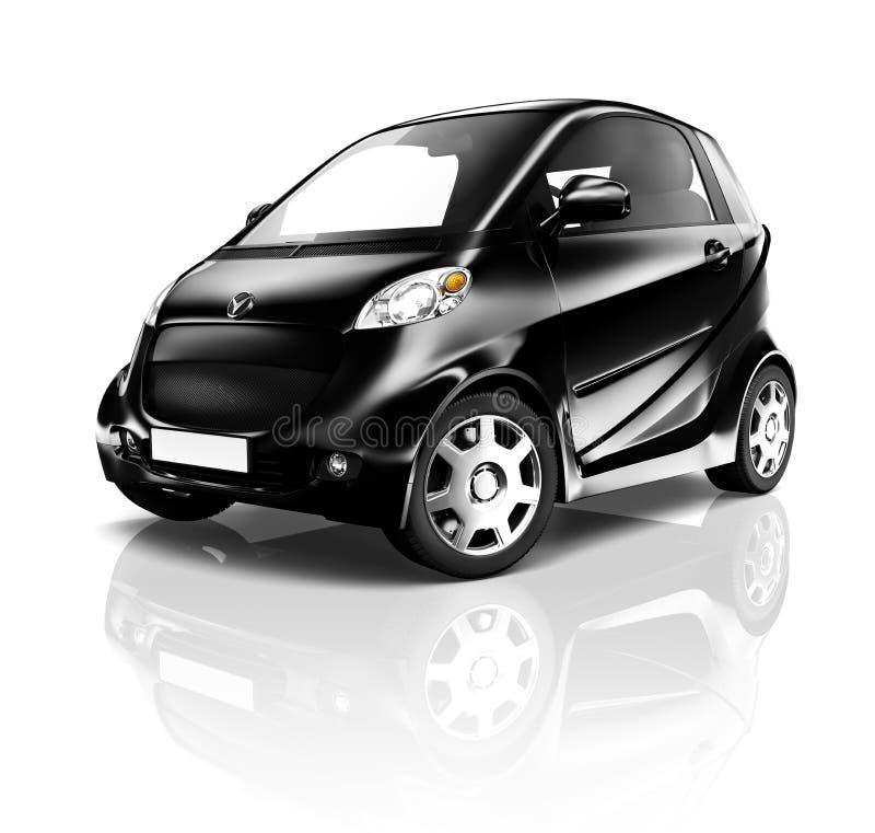 Contemporary Black Electric Shiny Car On White Stock Photo