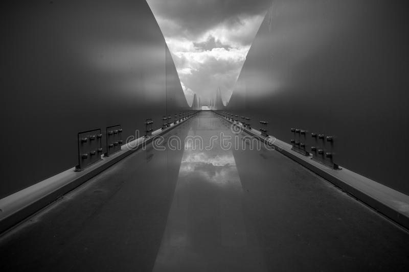 Contemporary black and white architecture object with rounded li royalty free stock image