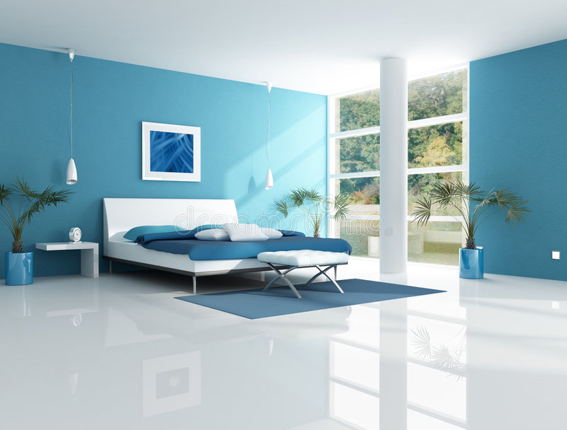 Contemporary blue bedroom royalty free illustration