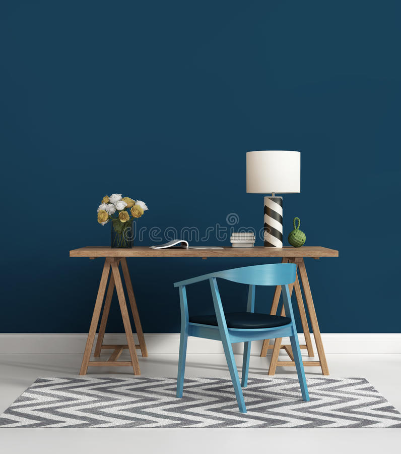 Contemporary blue home office royalty free illustration