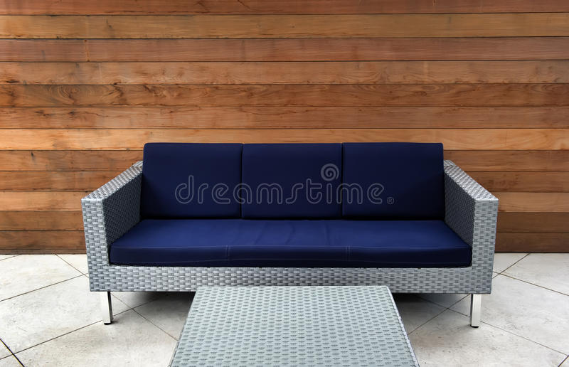 Contemporary Blue and Silver Outdoor Couch