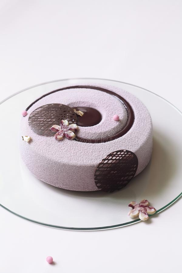 Contemporary Blueberry Violet Mousse Cake. Covered with velvet spray and decorated with chocolate elements, on white background stock image
