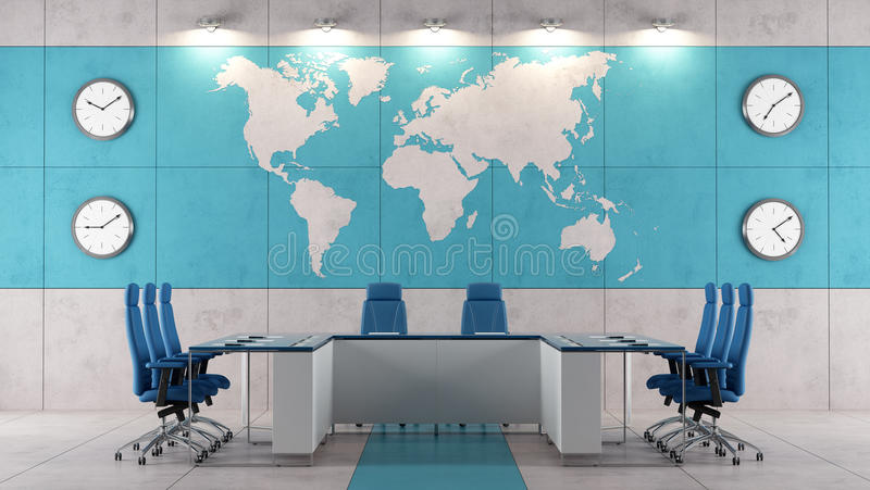 Contemporary boardroom. With meeting table and world map on wall - rendering