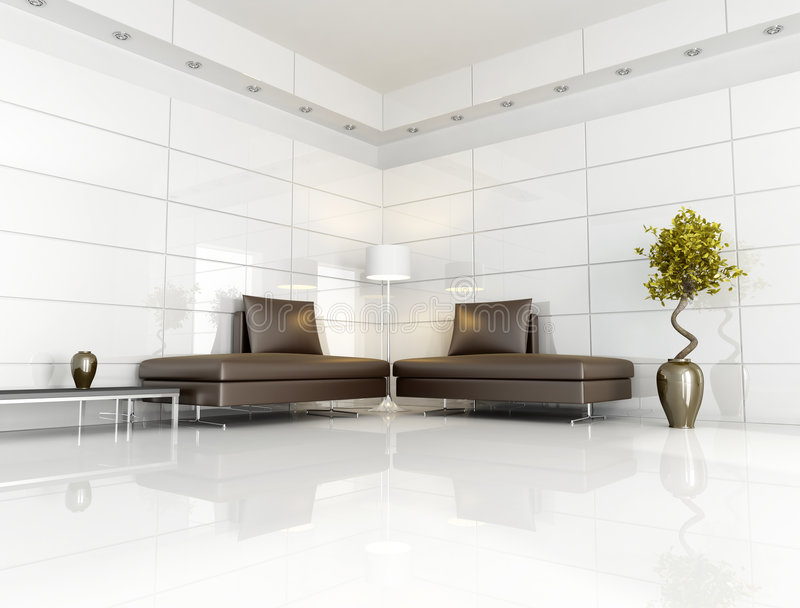 Contemporary brown and white living room stock photo