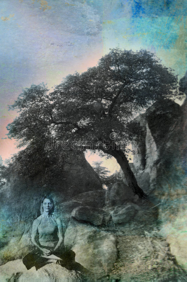 Contemporary Buddha Woman. Contemporary Buddha wise woman in her late fifities meditating near a leaning tree in the nature. Photo based mixed medium image royalty free illustration