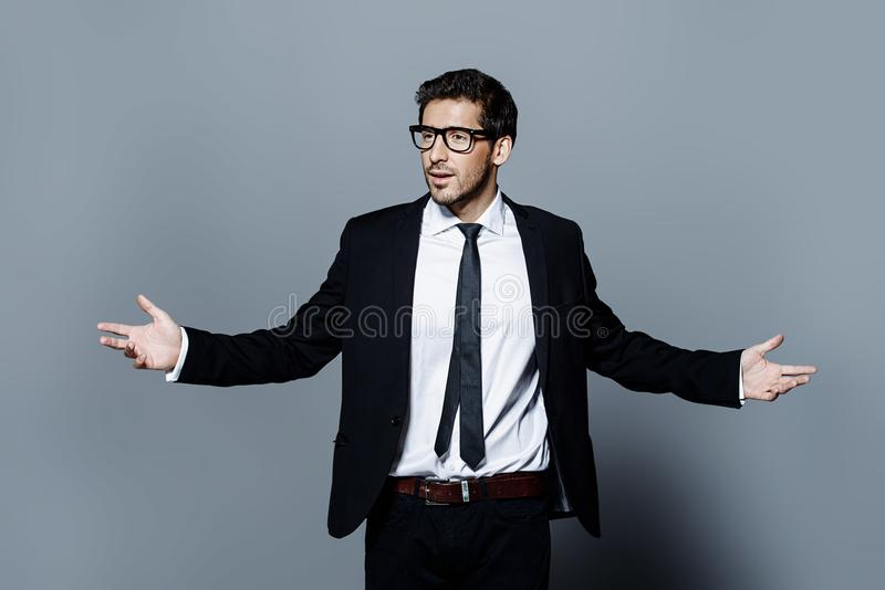 Handsome man in suit royalty free stock photo