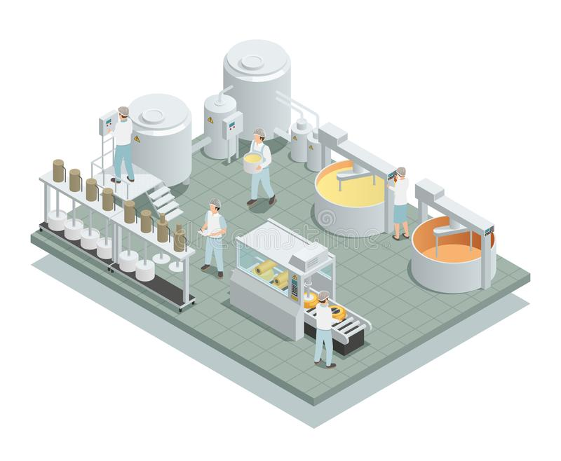 Cheese Production Factory Isometric Composition stock illustration