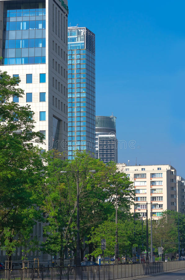 Office and residential buildings. Different types of office and residential buildings, Warsaw, Poland stock image