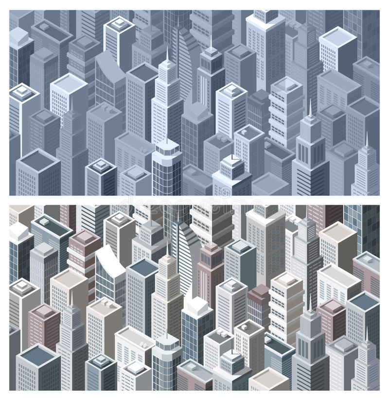 Contemporary city with isometric buildings. Contemporary city banners with modern isometric buildings, aerial view vector illustration