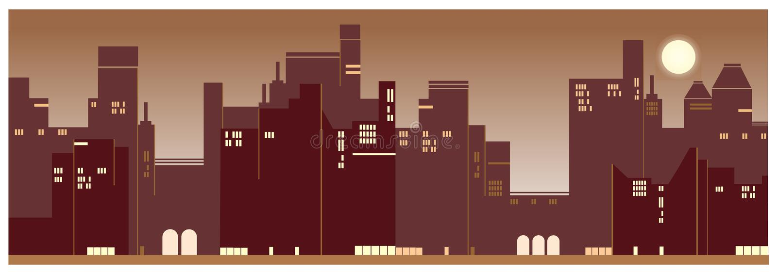 A contemporary city sunset view background. Background for greeting card of a contemporary city sunset stock illustration