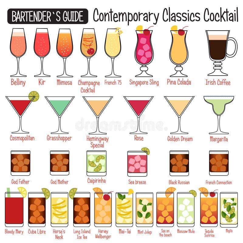 Contemporary Classics alcoholic cocktails vector illustration designe royalty free illustration