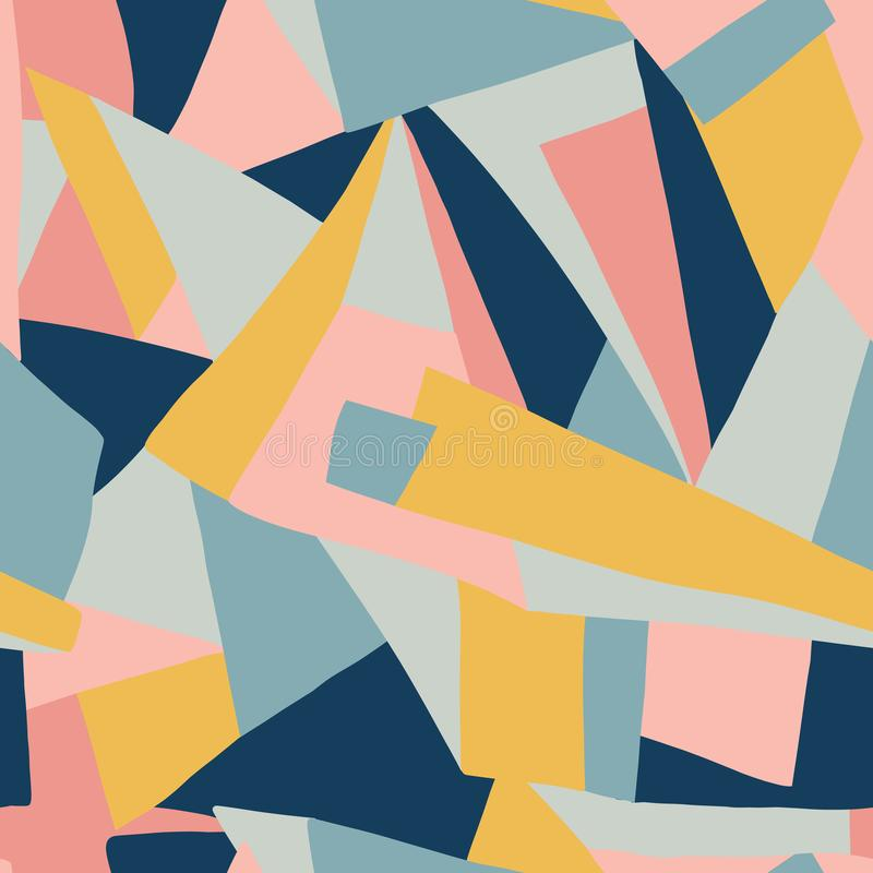 Contemporary collage pattern vector. Geometric colorful shapes seamless background coral pink gold yellow blue. Modern design for. Prints, posters, cards, web stock illustration