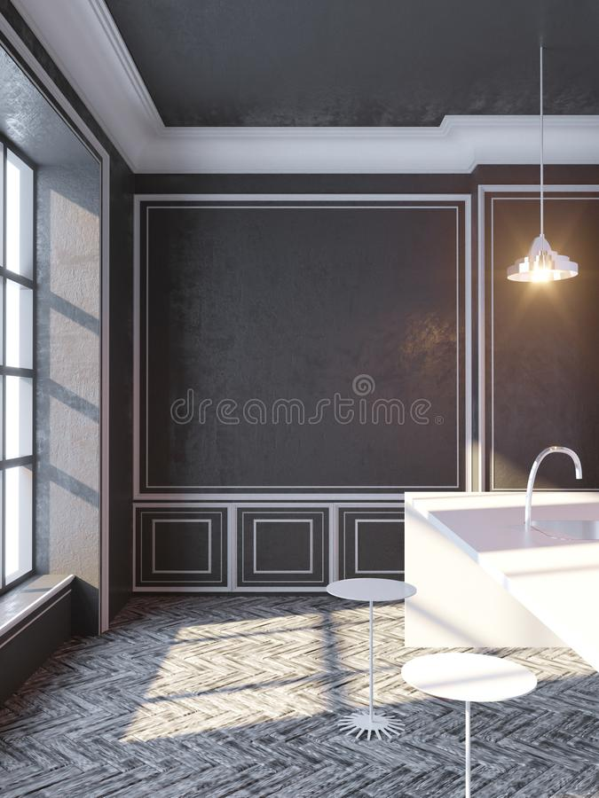 Contemporary concrete interior with empty poster and city view with sunlight. Mock up, 3D Rendering illustration. Sunlight, template, two, up vector illustration