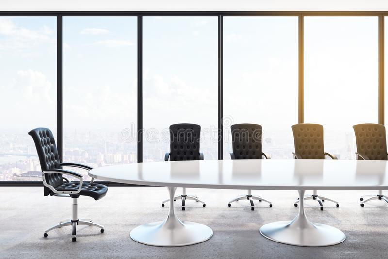 Contemporary concrete meeting room royalty free illustration