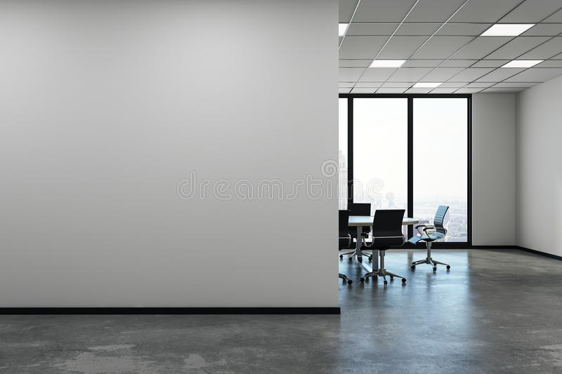 Contemporary conference room with city view. Contemporary conference room interior with copy space on wall and city view with daylight. Mock up, 3D Rendering stock illustration