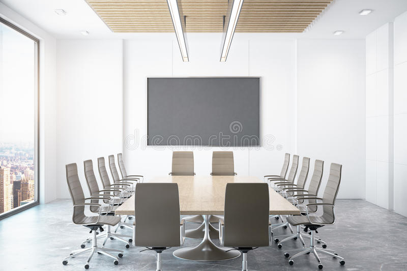 Contemporary conference room with city view. Contemporary conference room with empty chalkboard and city view. Mock up, 3D Rendering royalty free illustration