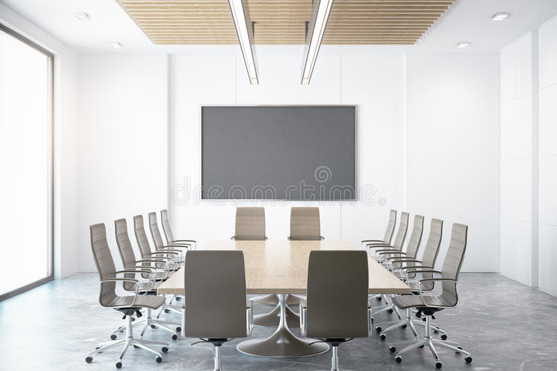 Contemporary conference room. With empty chalkboard. Mock up, 3D Rendering royalty free illustration
