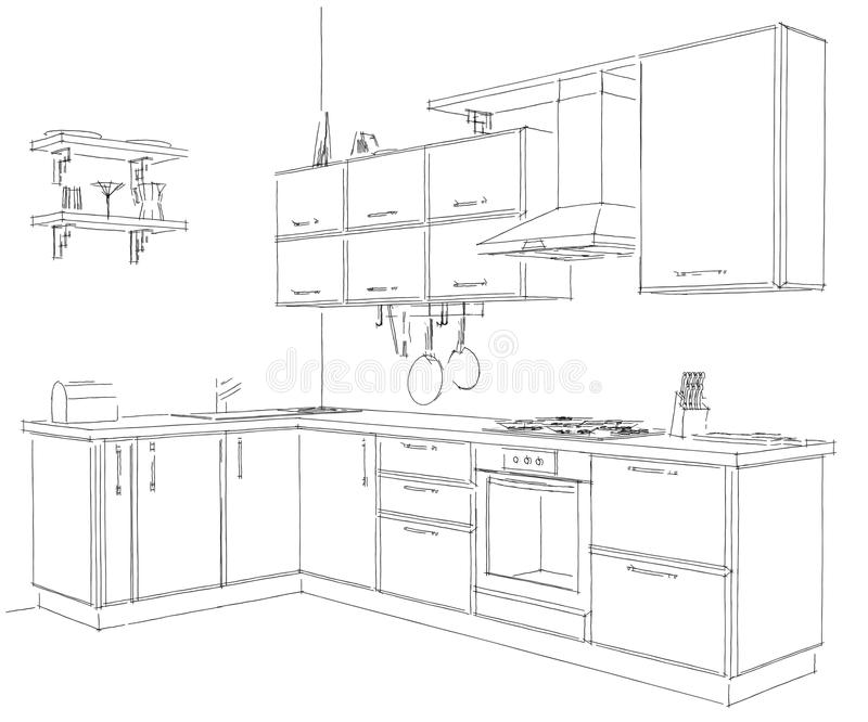 contemporary corner kitchen sketchy 3d illustration  black lines on white background stock